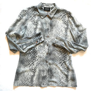 Dana Buchman Luxury Gray Reptile Print Silk Blouse